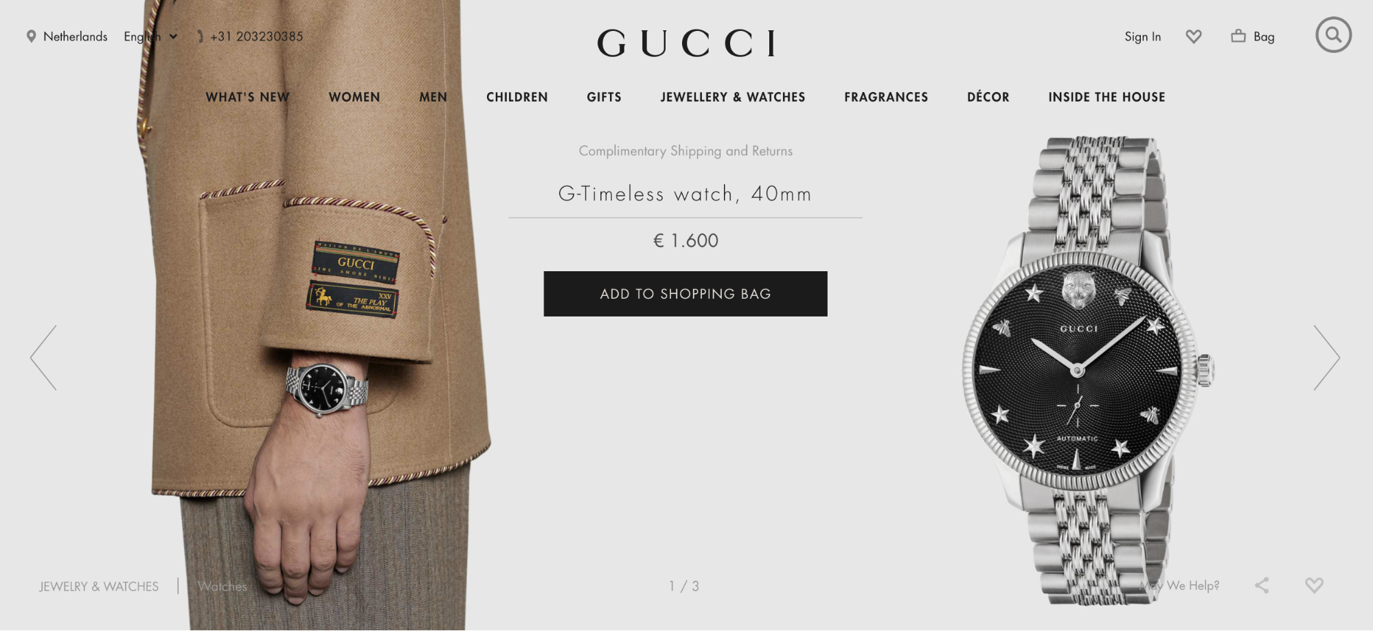 advertisement for a Gucci watch that costs 1,600 euros