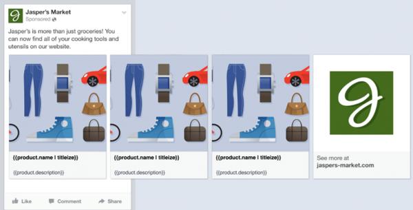 De advertentie wordt door Facebook dynamisch opgebouwd met de juiste product data.