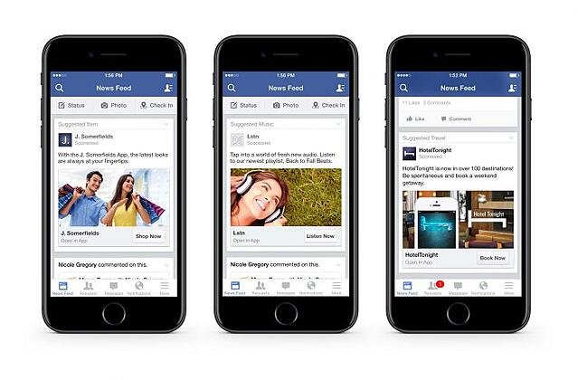 Facebook offers many different options for mobile advertisement. These are examples of 'news feed' placement ads.