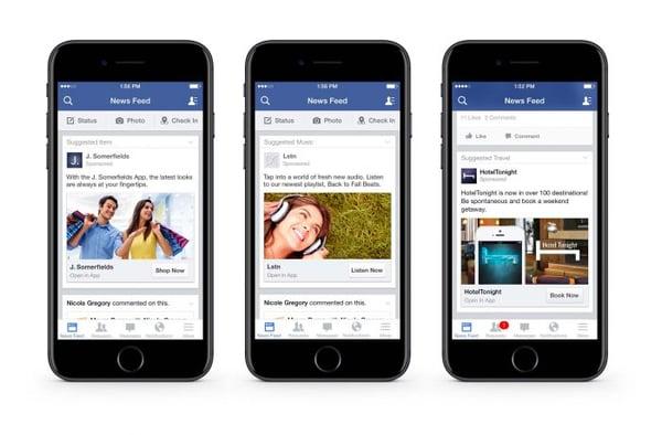 Facebook bied veel verschillende opties voor adverteren op mobiel. Dit zijn voorbeelden van 'nieuwsfeed' advertenties.