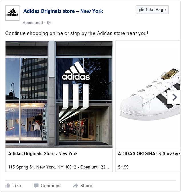 An example of an 'Omnichannel' Facebook ad, motivating online and offline engagement -the image is purely made for illustration purposes, it is not an actual ad of Adidas-.