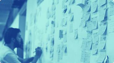 Person with sticky notes user mapping