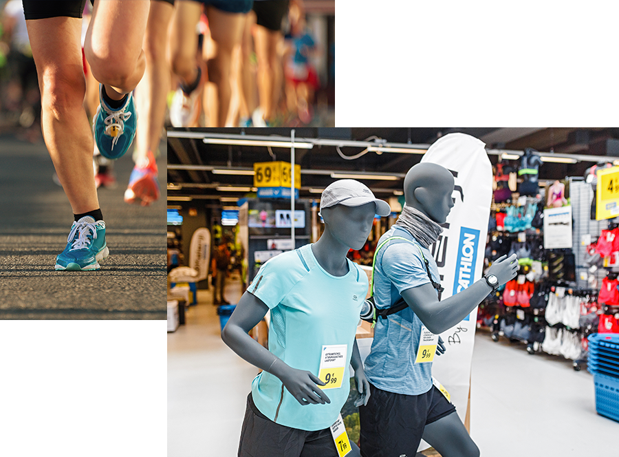 Running gear at Decathlon
